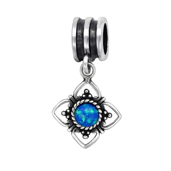 Silver Pacific Blue Opal Flower Charm Bead