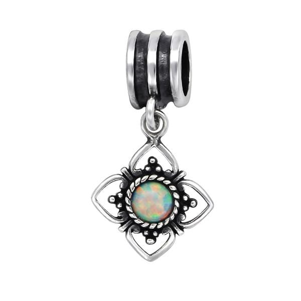 Silver Fire Snow Opal Flower Charm Bead