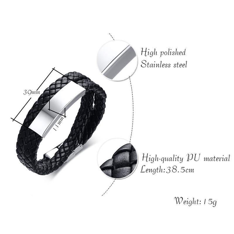Black Double Strand Leather Bracelet