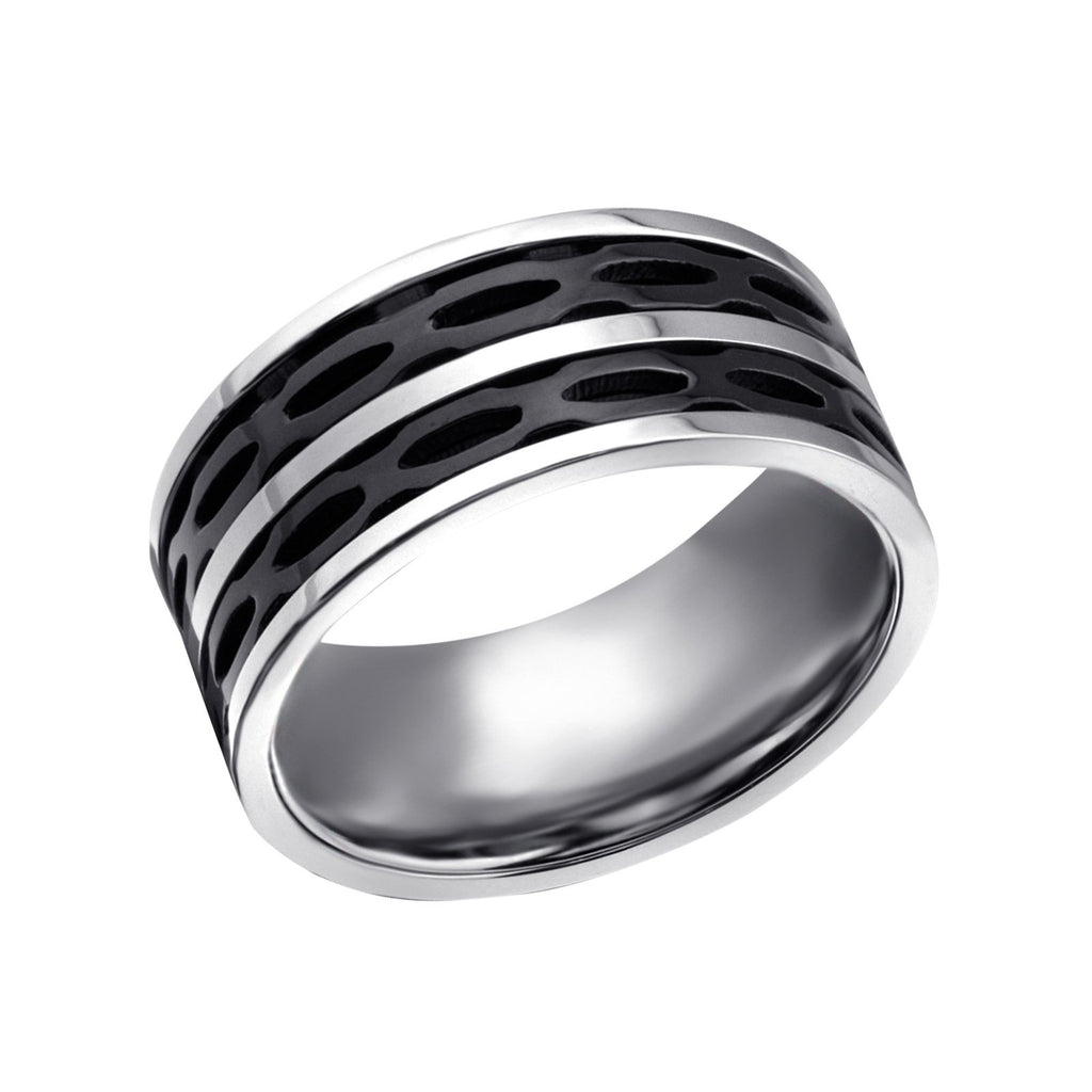 Black Surgical Steel Line Ring