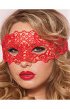 Exotic Red Floral Lace Wrap Around Headpiece Masquerade Mask