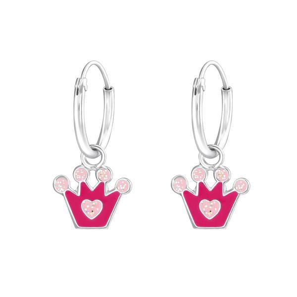 Kids Silver Hanging Crown Hoops