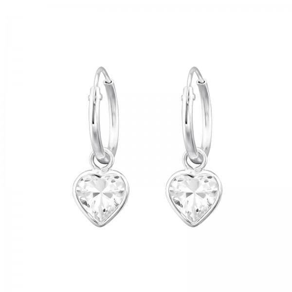 Kids  Silver Hanging Heart Hoop Earrings
