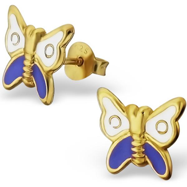 Childrens 14K Gold Plated Butterfly Ear Studs