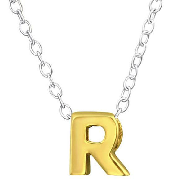 Gold plated Silver Letter R Necklace