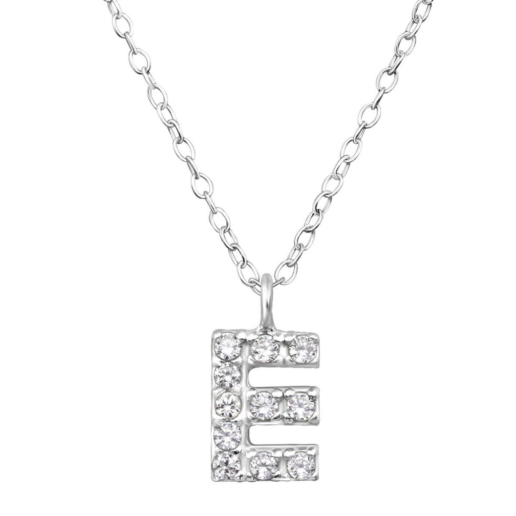 Cubic Zirconia Sterling Silver Letter E Necklace