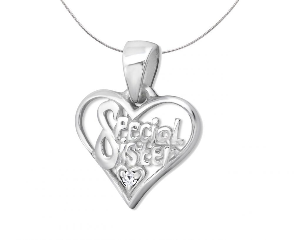 Silver Special Sister Heart Pendant Charm-crystal