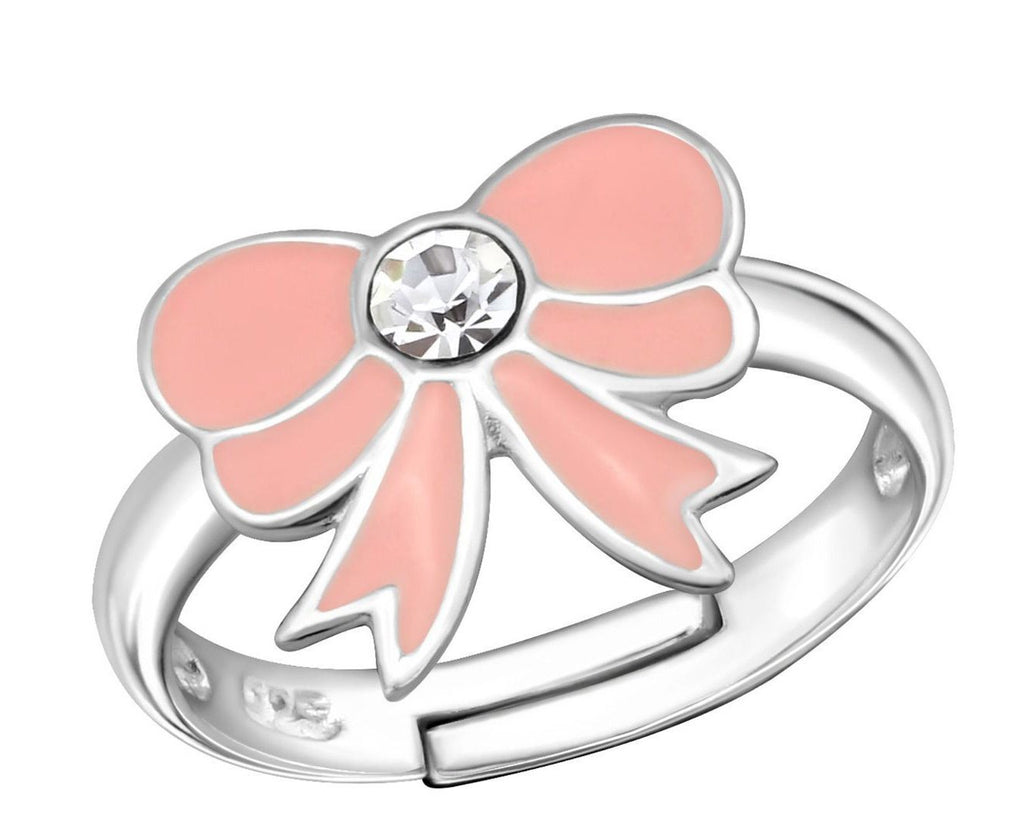 Children's Sterling Silver Light Pink Bow Ring