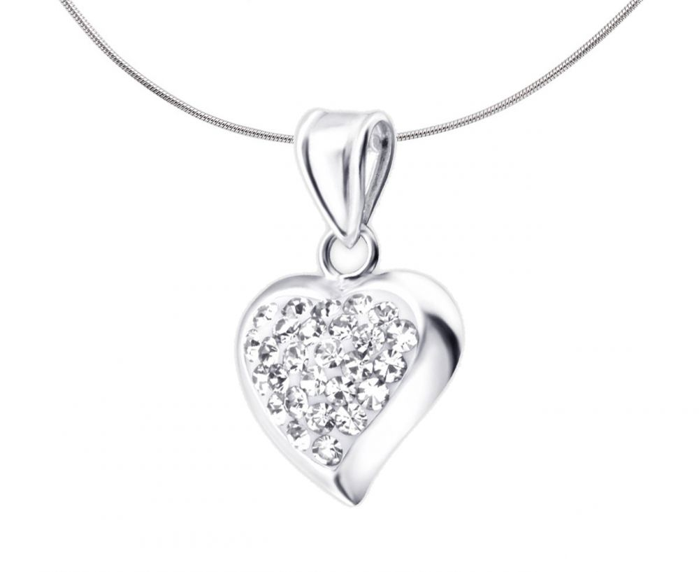 Crystal Studded Silver Heart Pendant