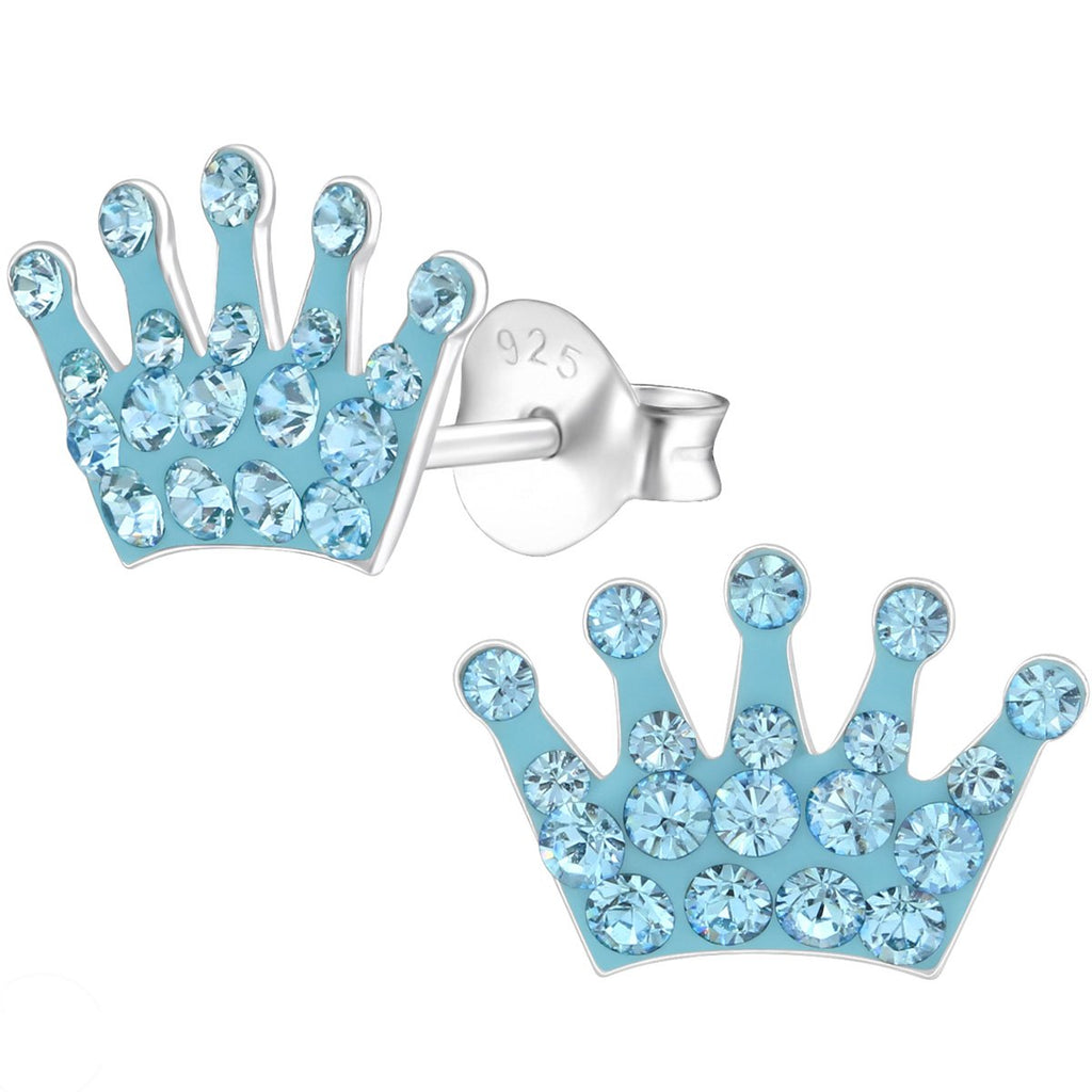 Kid's Sterling Silver Crown Ear Studs Made With Swarovski Crystals