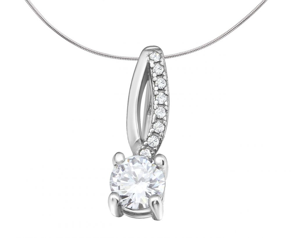 Elegant Silver Pendant Charm with Zirconia Detailing
