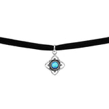 Sterling Silver Oxidised Flower Choker Opal Necklace-Azure