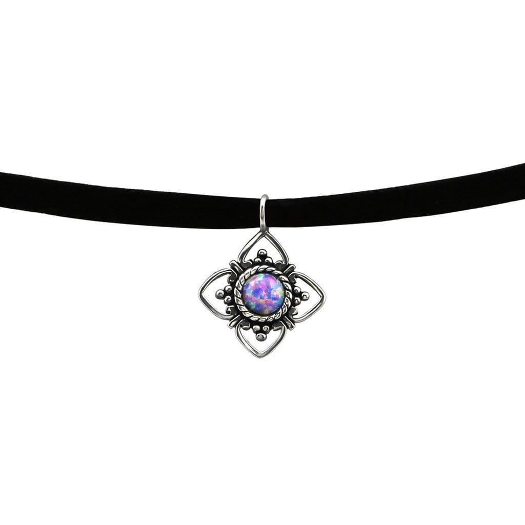 Silver Oxidised Flower Opal Choker  Necklace