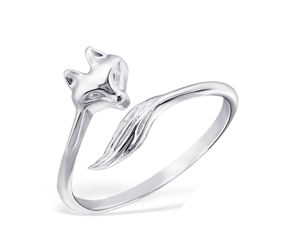 Sterling Silver Fox Midi Ring