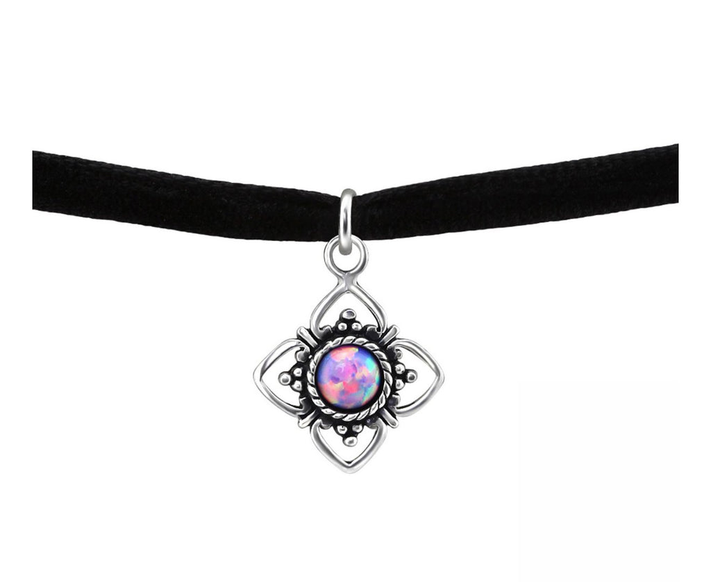 Black Banded Silver Choker Flower with Opal