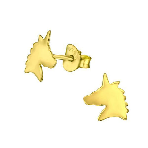 14 K Gold Plated Children's Silver Unicorn Ear Studs