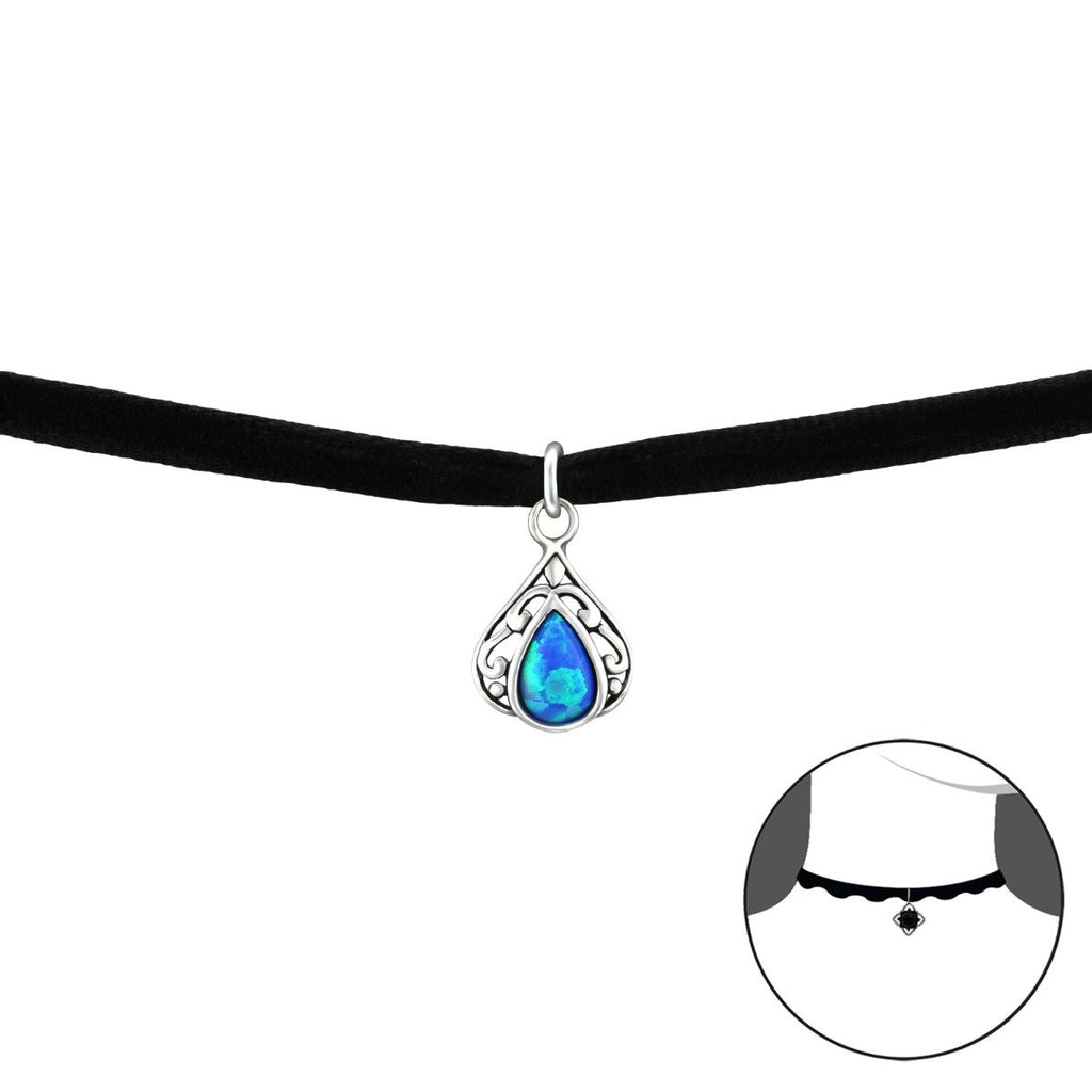 Teardrop Opal Choker with Black Band - pacific blue