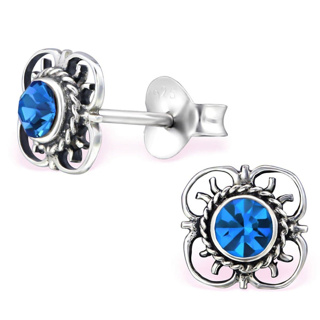 Sterling Silver Flower Capri Blue Stud earrings Made With Swarovski Crystal