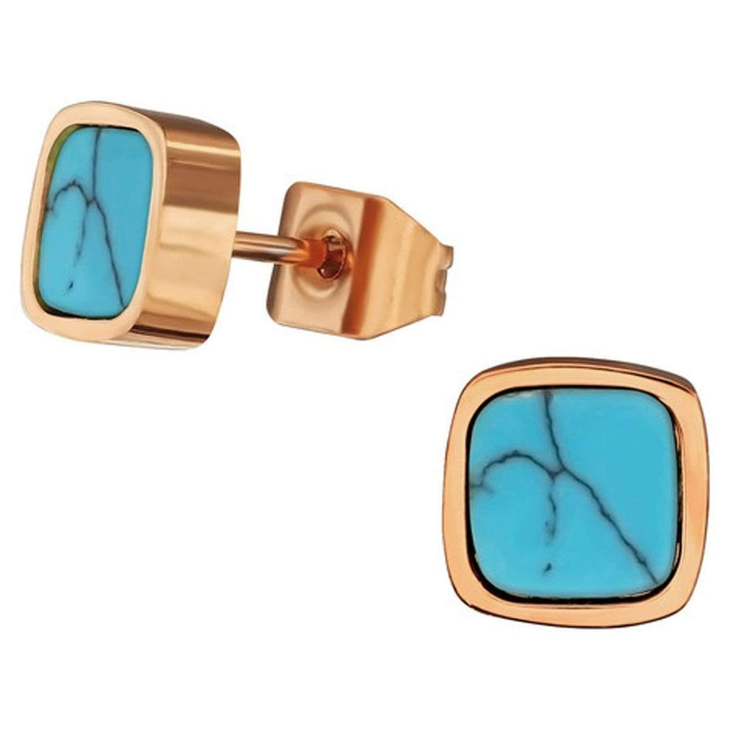Stainless Steel Square Turquoise Rose Gold Stud Earrings