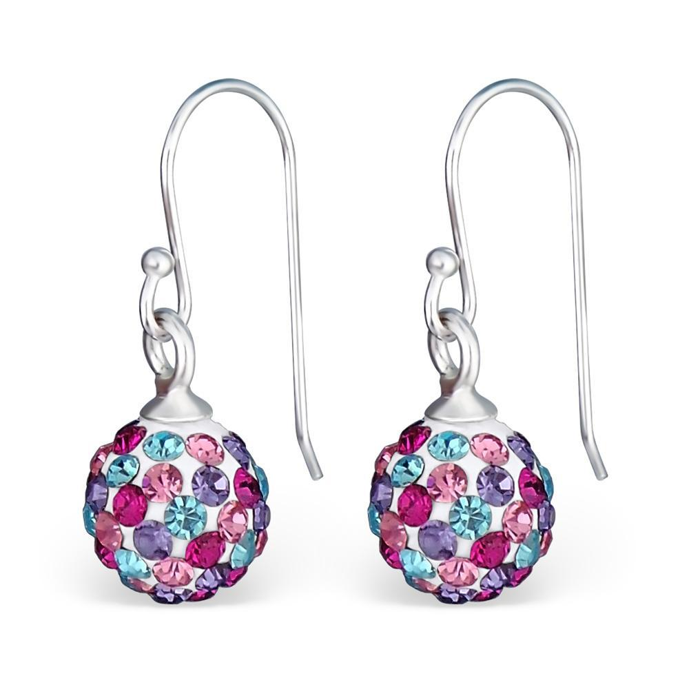 Sterling Silver Crystal Ball Earrings