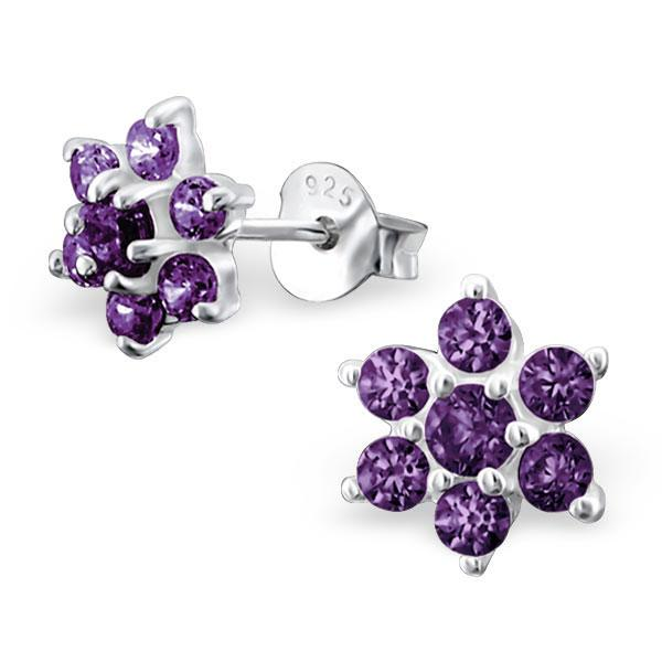 Silver Snowflake Stud Earrings With Crystals - CZ Amethyst