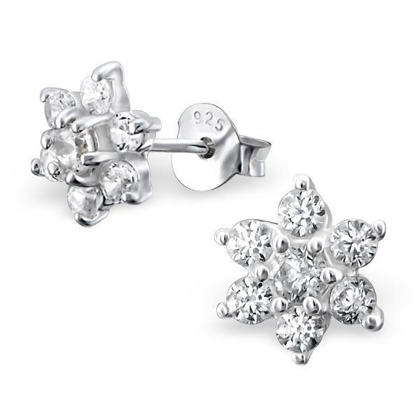Silver Snowflake Stud Earrings With Crystals