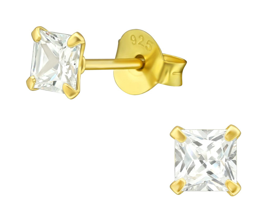 Sterling Silver CZ Crystal 4mm Stud Earrings