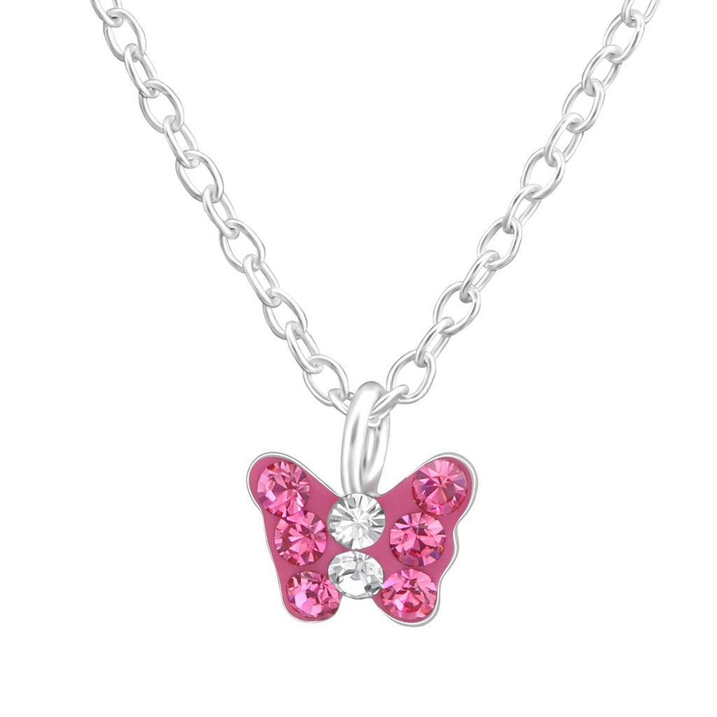 Children's Silver Butterfly Crystal Necklace