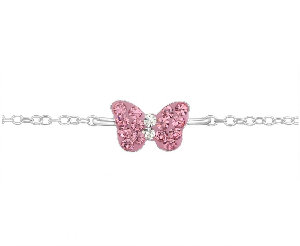 Children's Silver and Pink Butterfly Bracelet with Crystals