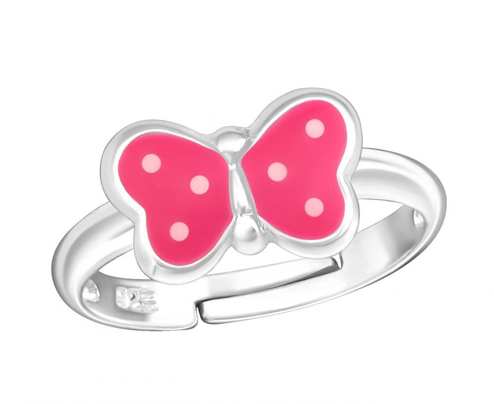 Children's Spotted Pink and White Butterfly Ring