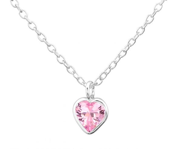 Children's Silver and CZ Amethyst Crystal Heart Necklace