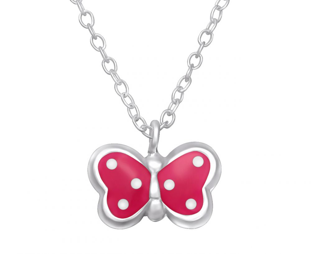 Children's Silver and Pink Spotted Butterfly Necklace