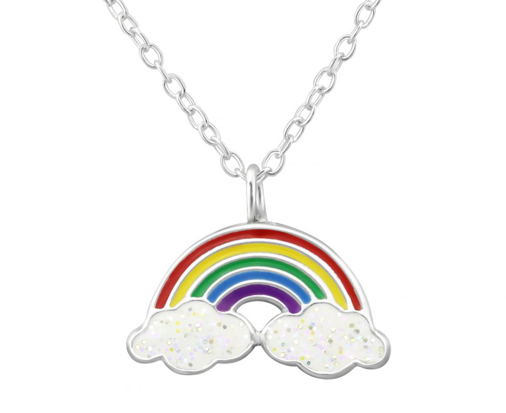 Children's Silver Rainbow and Clouds Necklace