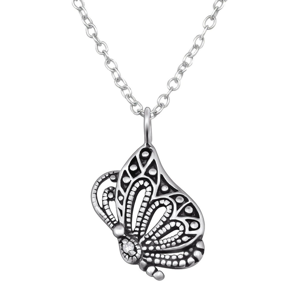 Butterfly Silver Necklace Oxidised -Black Spinel