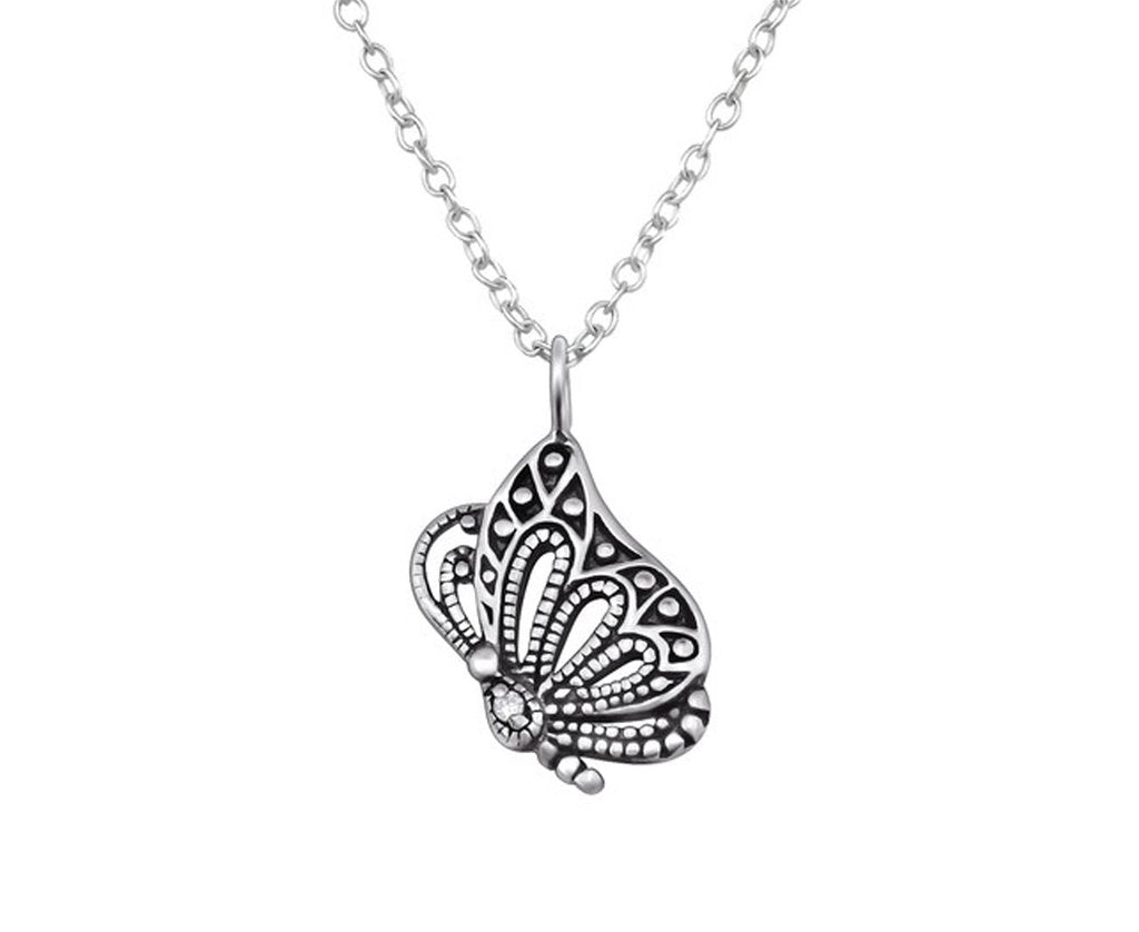 Butterfly Silver Necklace Oxidised