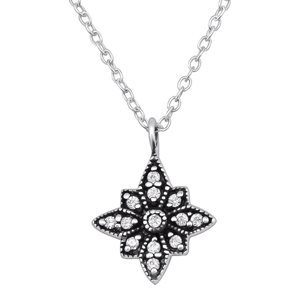 Silver Antique Necklace- CZ Crystal