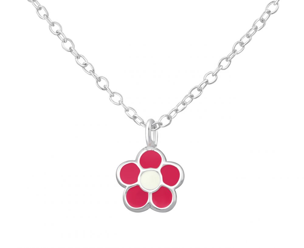 Children's Pink and White Flower Necklace