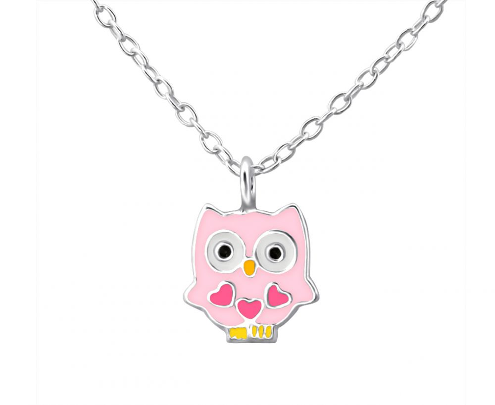 Children's Silver Owl Necklace with Hearts