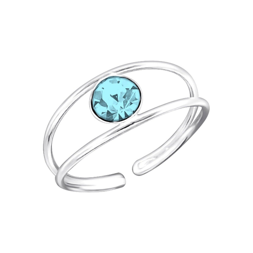 Sterling Silver Aqua Crystal Toe Ring