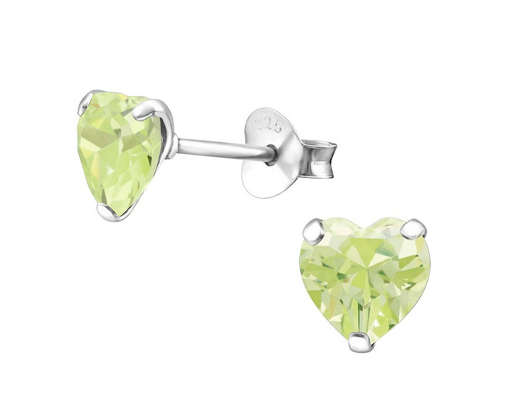 Silver Heart  Earrings with Swarovksi Crystal
