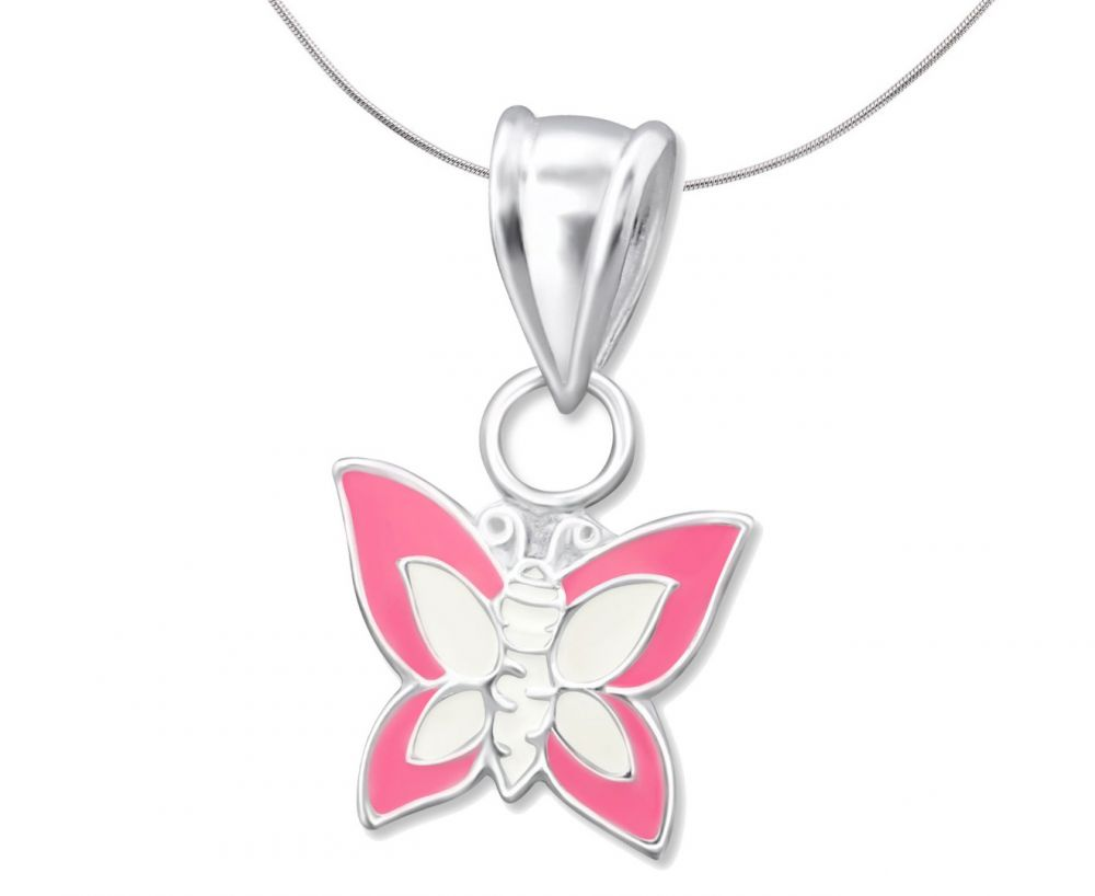 Children's Silver, Pink and White Butterfly Pendant