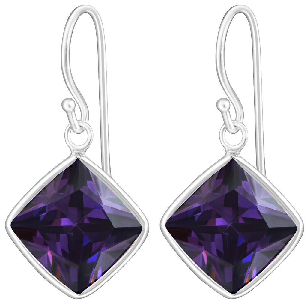 Sterling Silver Cubic Zirconia silver Square earrings -Amethyst