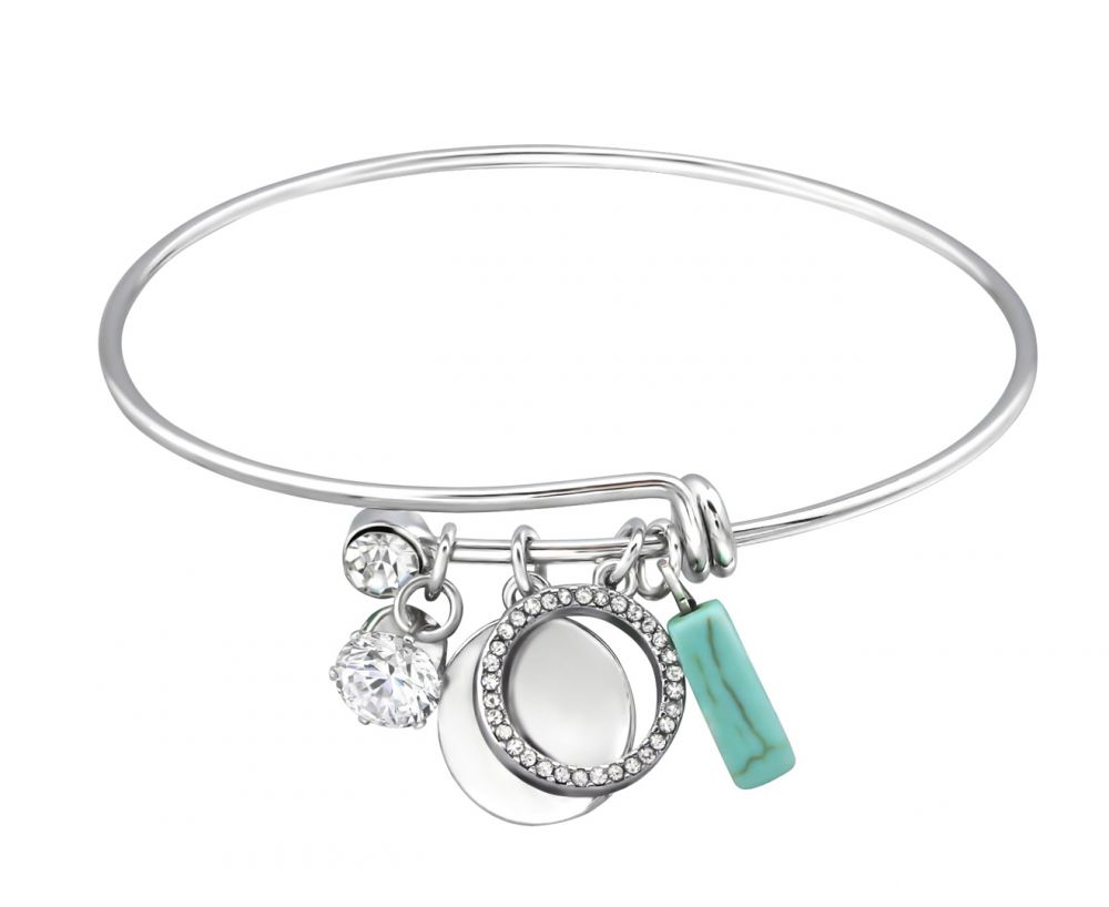 Geometric Charm Bangle with Crystal and Turquoise