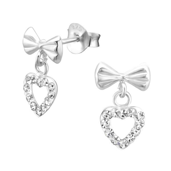 Kids Silver Bow Heart Stud Earrings