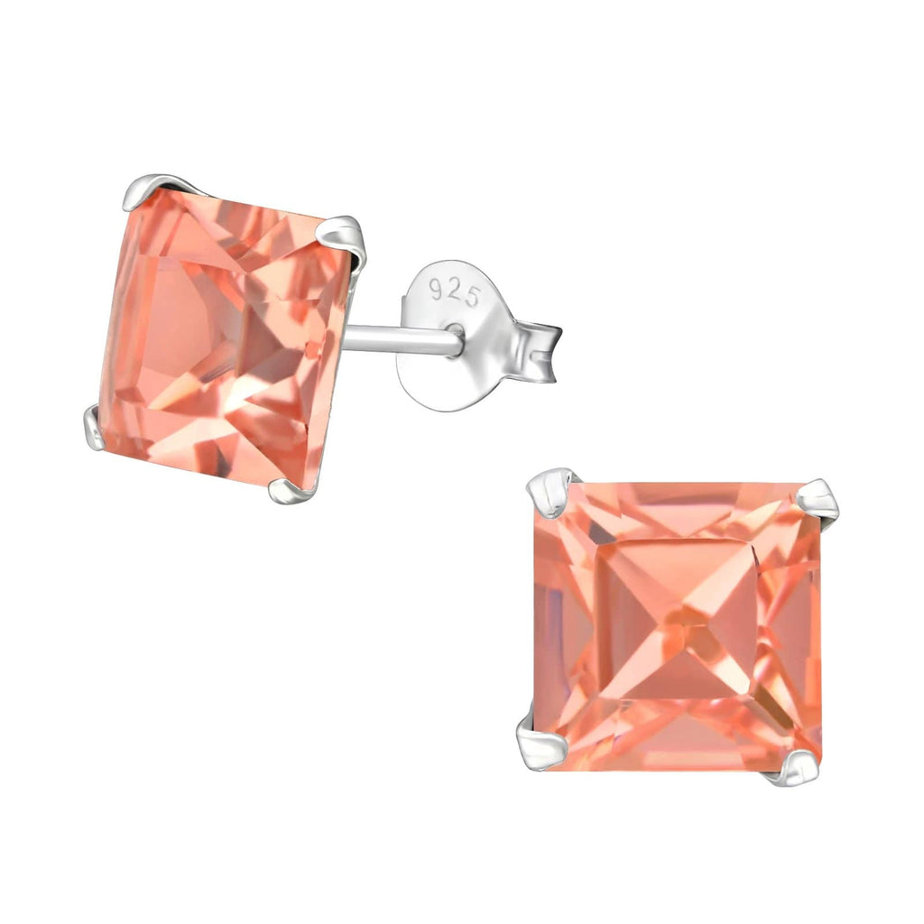 Silver Square Earrings with Swarovski Crystal
