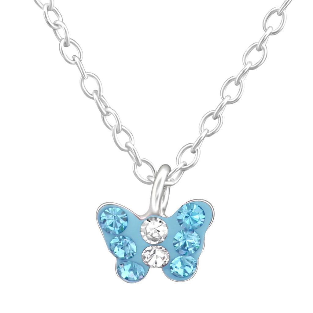 Children's Silver Butterfly Necklace Made with Swarovski Crystal