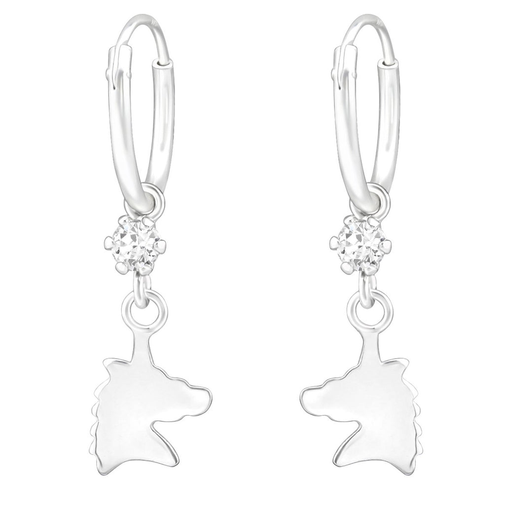 Children's Silver Hanging Unicorn Hoop Earrings Made with Swarovski Crystal