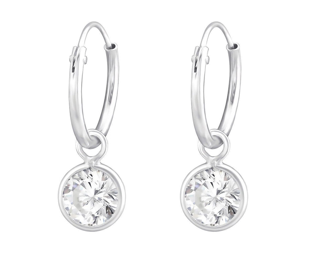 Sterling Silver Hanging CZ Crystal Ear Hoops