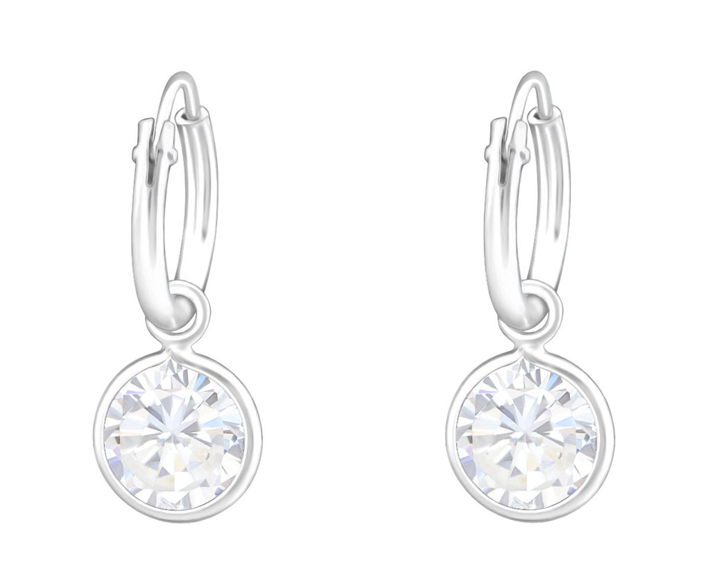 Sterling Silver Hanging Round CZ Crystal Ear Hoops
