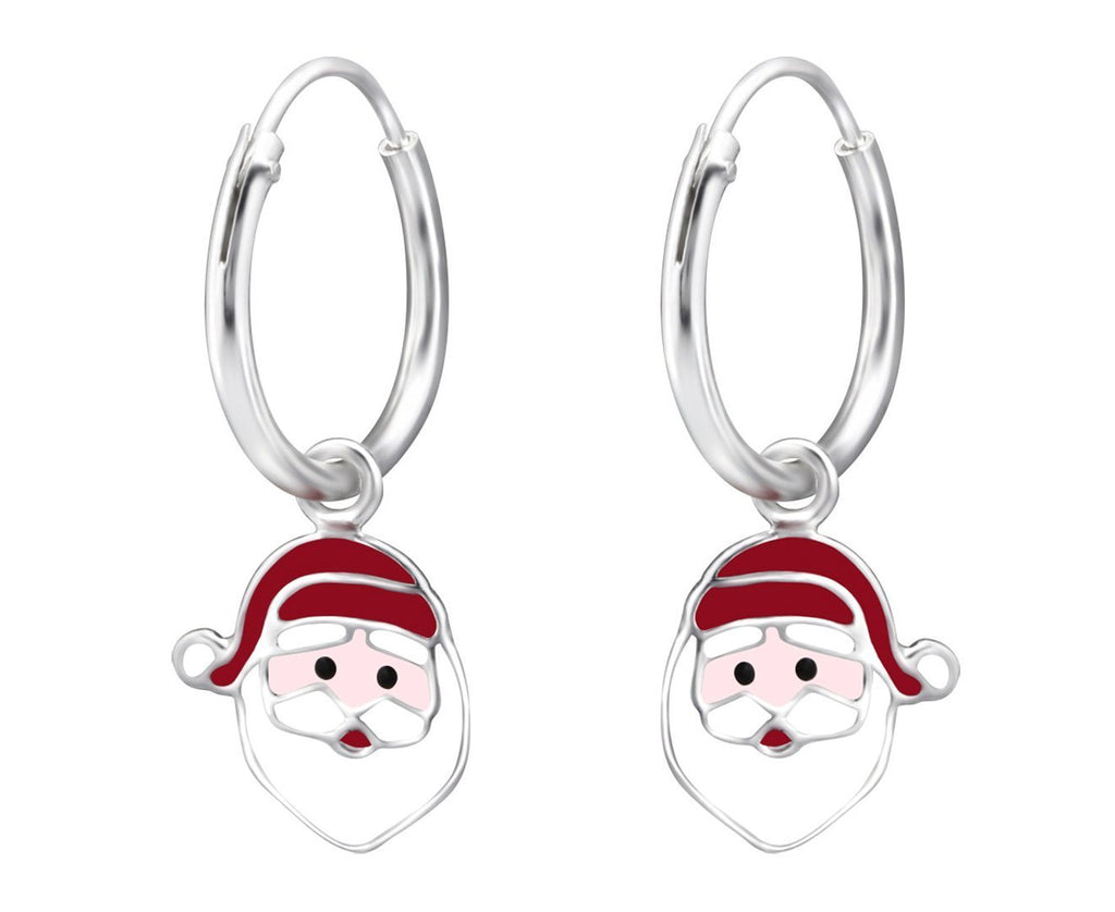 Children's Silver Hanging Santa Claus Ear Hoops